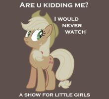 Applejack lies with Text by Kuzcorish