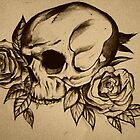 skull and roses by Beth Whitcombe