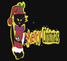 Merry Christmas txt Black cat vector art by cheeckymonkey