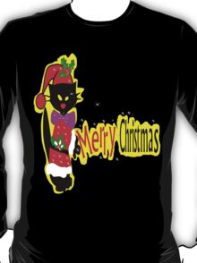 Merry Christmas txt Black cat vector art T-Shirt