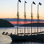 Four-masted Schooner, Bar Harbor, Maine by Kenneth Keifer