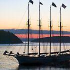 Four-masted Schooner, Bar Harbor, Maine by Kenneth Keifer