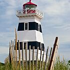 West Point Lighthouse and Dune Fence, PEI, Canada by Kenneth Keifer