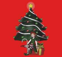 Cute Girl Elf Christmas Tree Holiday Shirt by SmilinEyes