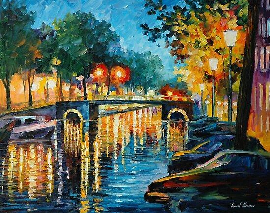 AMSTERDAM'S REFLECTIONS - LEONID AFREMOV by Leonid  Afremov