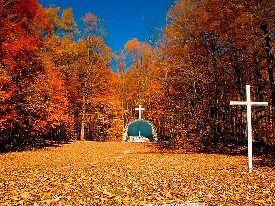 Leaf Covered Path - Fall Autumn Scenes - Cemetery Altar & Cross by Chantal PhotoPix