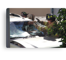 WINDSHIELD OF THIS SUV- HENCE TRUCK IN FENCE Canvas Print