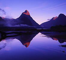 First light on Mitre Peak - South Island NZ by Mark Shean