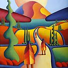 pilgrimage to the sacred mountain with 3 figures by Alan Kenny