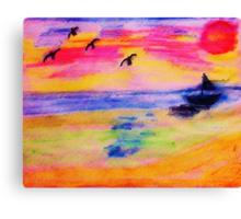 On the Sea, in,watercolor PENCIL Canvas Print