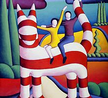 Genetic cat and lovers in softscape with trees by Alan Kenny