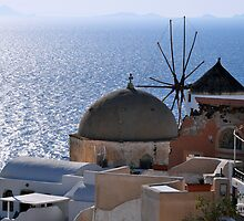 Windmill and Sea, Santorini Greece by Katerina Vorvi