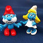 Papa Smurf & Smurfette by Bev Pascoe