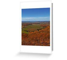 Fall Autumn Season ~ Brush & Orange Leaf Trees on a Hillside w/ Green Field, Meadow & Farmland Greeting Card