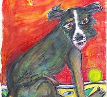 Black Dog_ Green Ball by Diane  Kramer