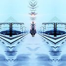 snowy train station abstract  by H J Field