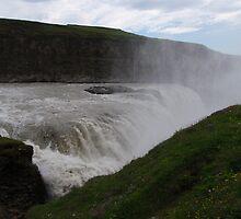 Gullfoss waterfall in Iceland known as Golden waterfall. by Grace Johnson