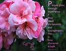 Geranium Blossom With Quote by Sandra Foster