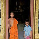 Temple guardians, Wat Pak Ou, Luang Prabang, laos by John Spies