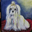 Maltese on a pillow by Linda Costello Hinchey