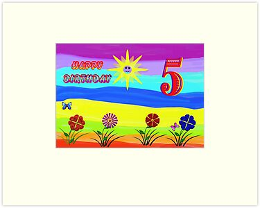 Childs Rainbow  5th Birthday Card by judygal