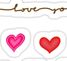 hearts (iphone case + tshirt + sticker) Sticker