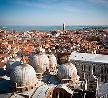 w of St Mark's Basilica from the Campanile tower by mosinski