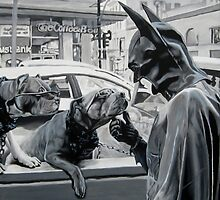 Two Dogs Wearing Sunglasses and Some Guy in a Batman Costume by Florian Herrmann