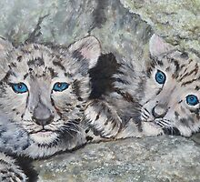 Snow Leopard Cubs by Chutharat Sentell