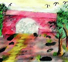 Bridge over walking path, watercolor by Anna  Lewis