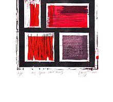 my space red series linoleum print by Veera Pfaffli