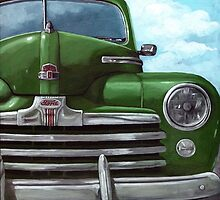 Vintage 50's Green Ford - oil painting by LindaAppleArt