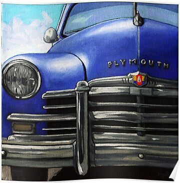 Vintage BLUE PLYMOUTH classic car by LindaAppleArt