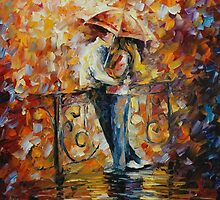 KISS ON THE BRIDGE - LEONID AFREMOV by Leonid  Afremov