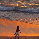 Golden reflections on the surf by Bernhard Matejka