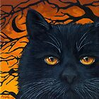 Black Cat Halloween by LindaAppleArt