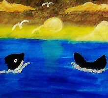 Whales  frolicing, watercolor by Anna  Lewis