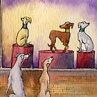 Whippets and greyhounds window shopping by SusanAlisonArt