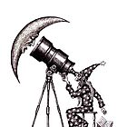 Astronomer surreal black and white pen ink drawing by Vitaliy Gonikman