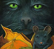 Black Cat and Mouse - Halloween oil painting by LindaAppleArt