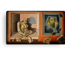 """Surreal Portents of Genius - oil on canvas - 45"""" x 26"""" Canvas Print"""