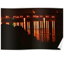 Night Light Reflections in the Missouri River Poster