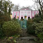 Portmeirien Wales, pink manor house shrubbery. by Grace Johnson