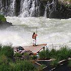 Fishing at Sherars Falls Oregon  by Don Siebel