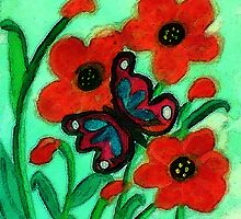 Red Poppies and #2 butterfly, watercolor by Anna  Lewis