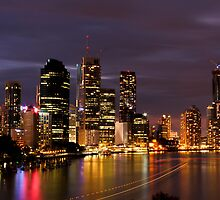 Brisbane City, Australia at night by Larissa Dening