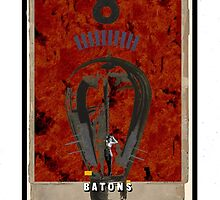 Dada Tarot- 8 of Batons by Peter Simpson