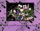 Inspired by pansies with quote and sheet music background by Sandra Foster