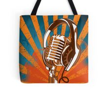 Retro Microphone/Headphones Tote Bag