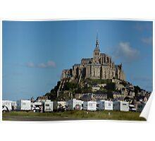 Campervans parked beneath Mont Saint-Michel, France. Poster